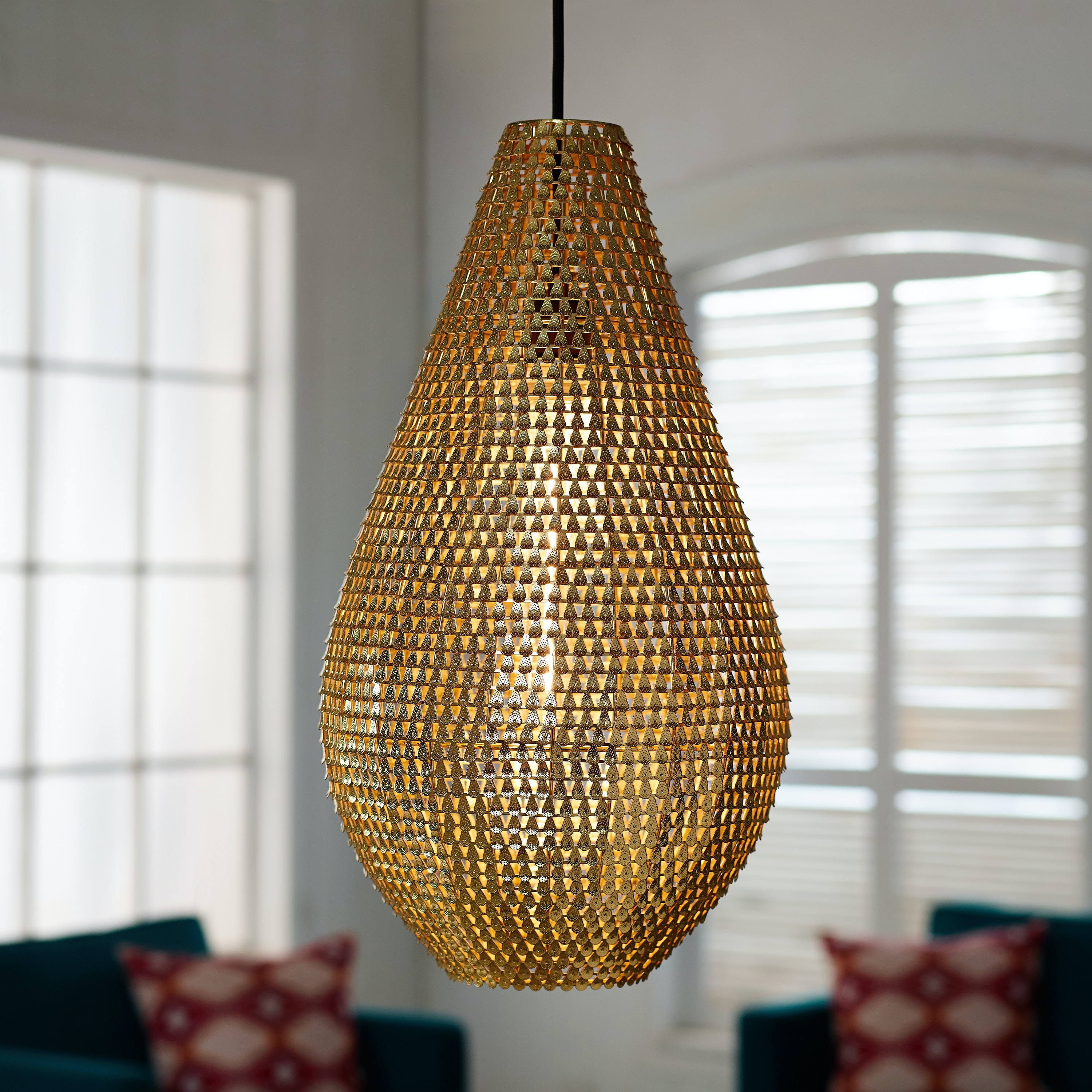 buy online 78583 0b205 Ft Myers Lamps and Lighting Modern Bohemian Drop Style Sparkle Hanging  Light Pendant Lamp WEDLIP20DROGL Walter E. Smithe Furniture + Design