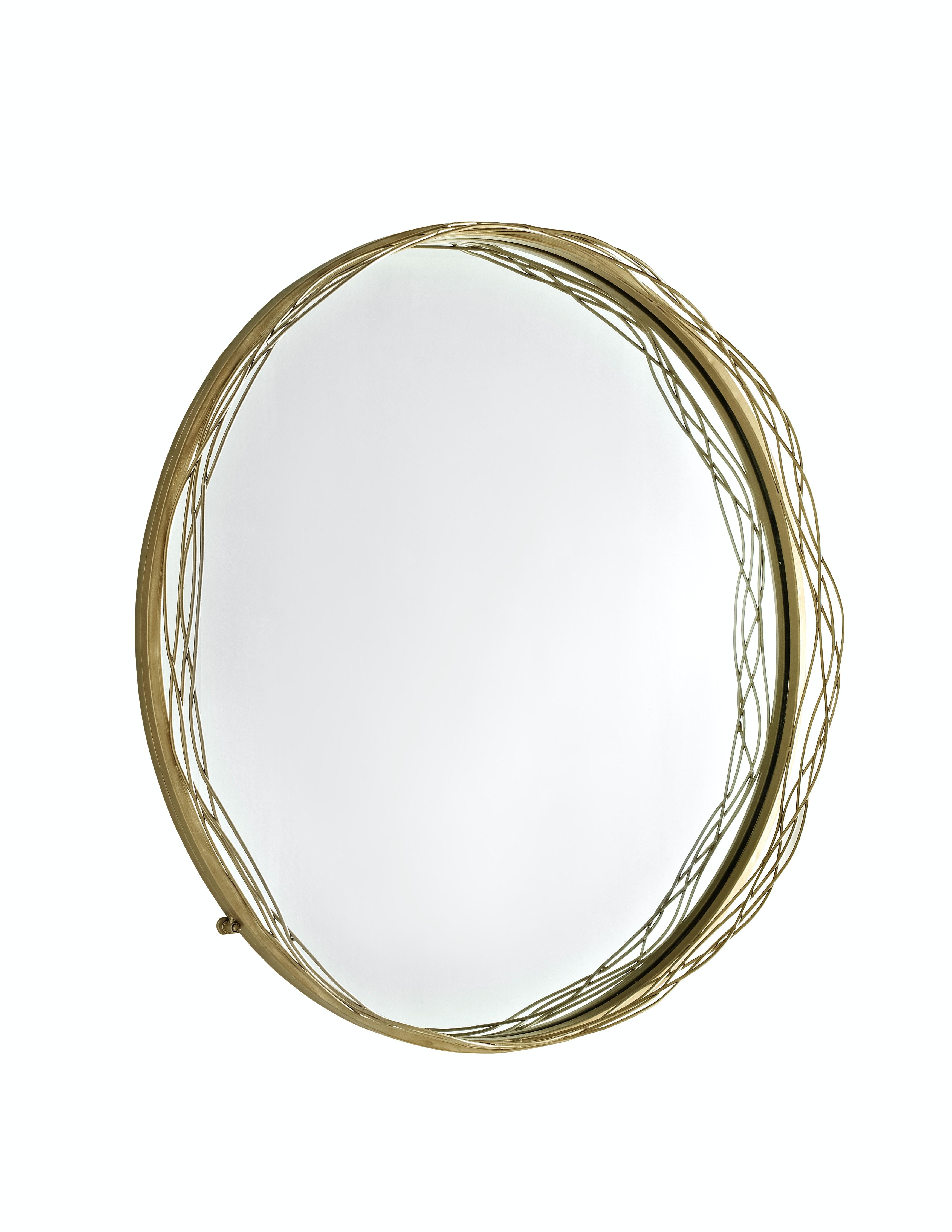 Mirror Wire | 32 Wire Nest Frame Round Wall Mirror Gold Wedm32nstgd