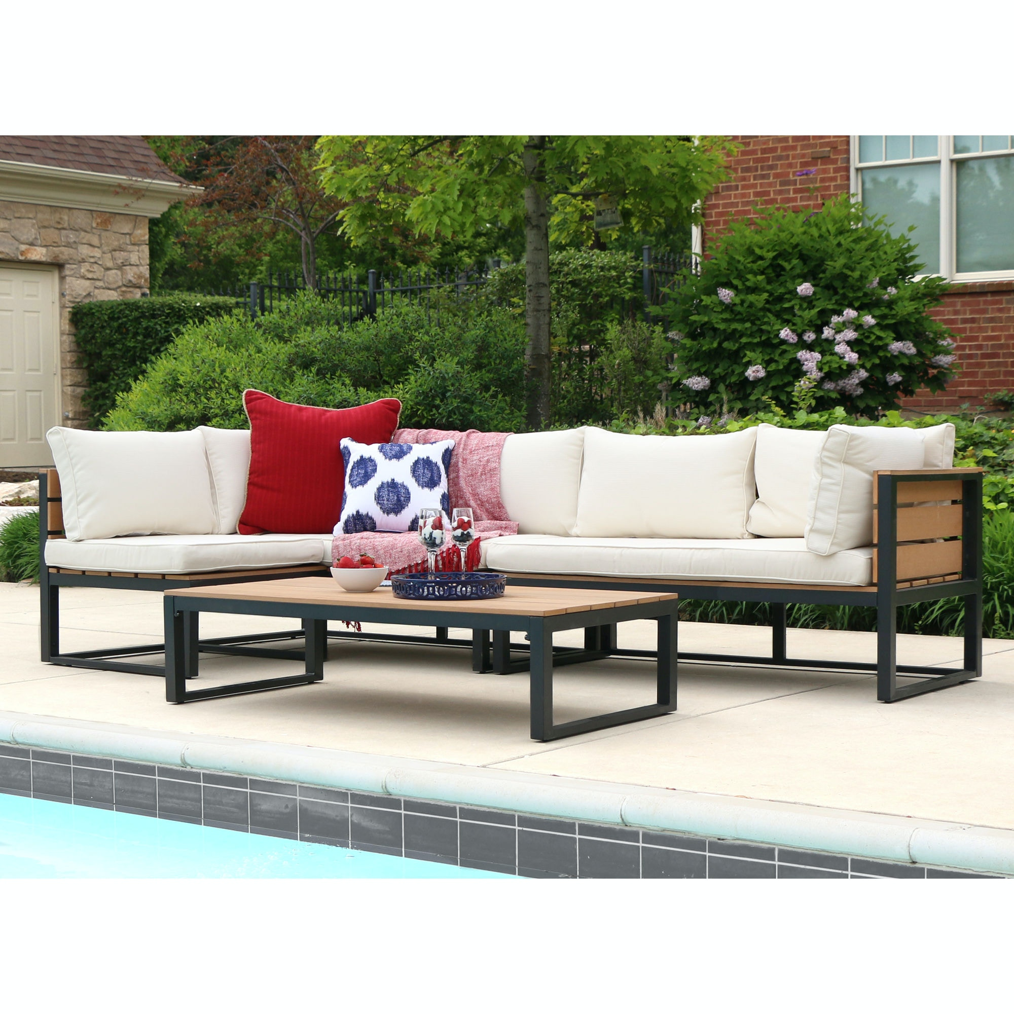 Ft Myers 4-Piece All-Weather Patio Conversation Set - Natural WEDOAW4CSNBL & 4-Piece All-Weather Patio Conversation Set - Natural WEDOAW4CSNBL