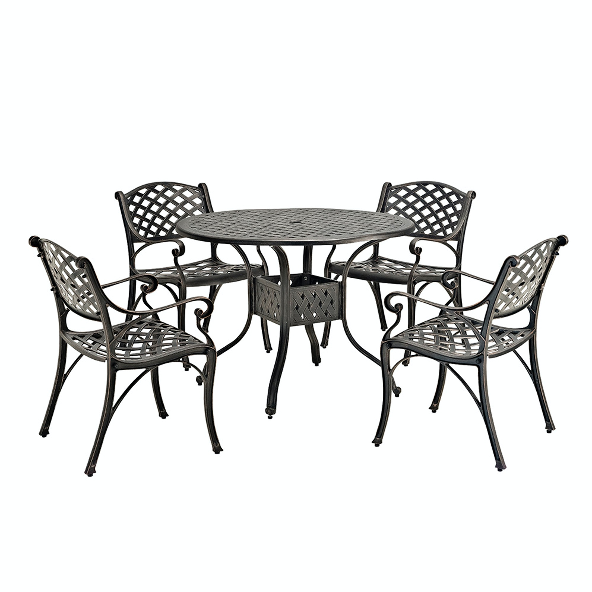 Ft Myers 5 Piece Cast Aluminum Dining Set WEDOM5DSAB From Walter E. Smithe  Furniture