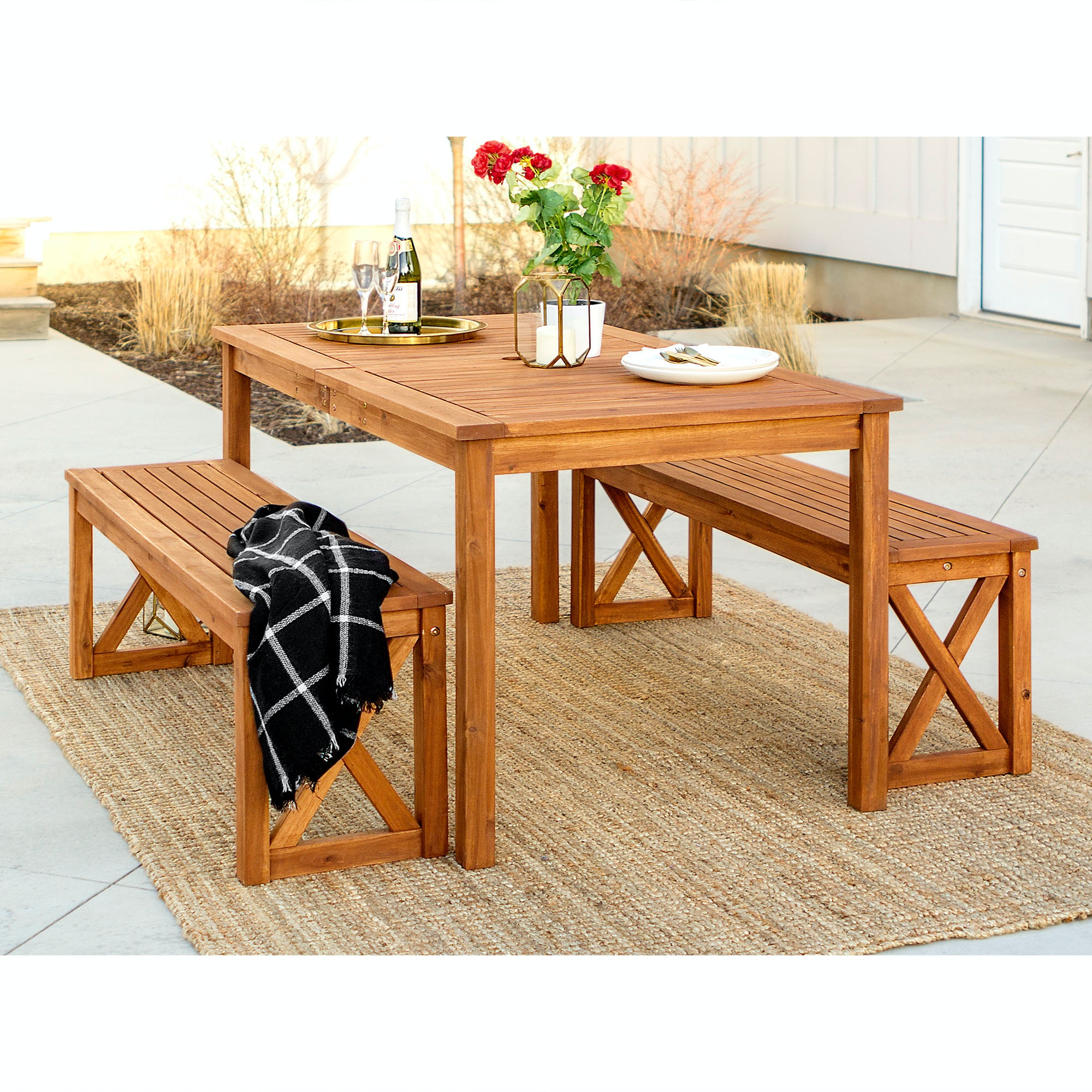 Ft Myers Outdoorpatio Outdoor Acacia Wood Simple Patio 3 Piece Dining Set With X Design Brown Wedow3xsdtbr Walter E Smithe Furniture Design