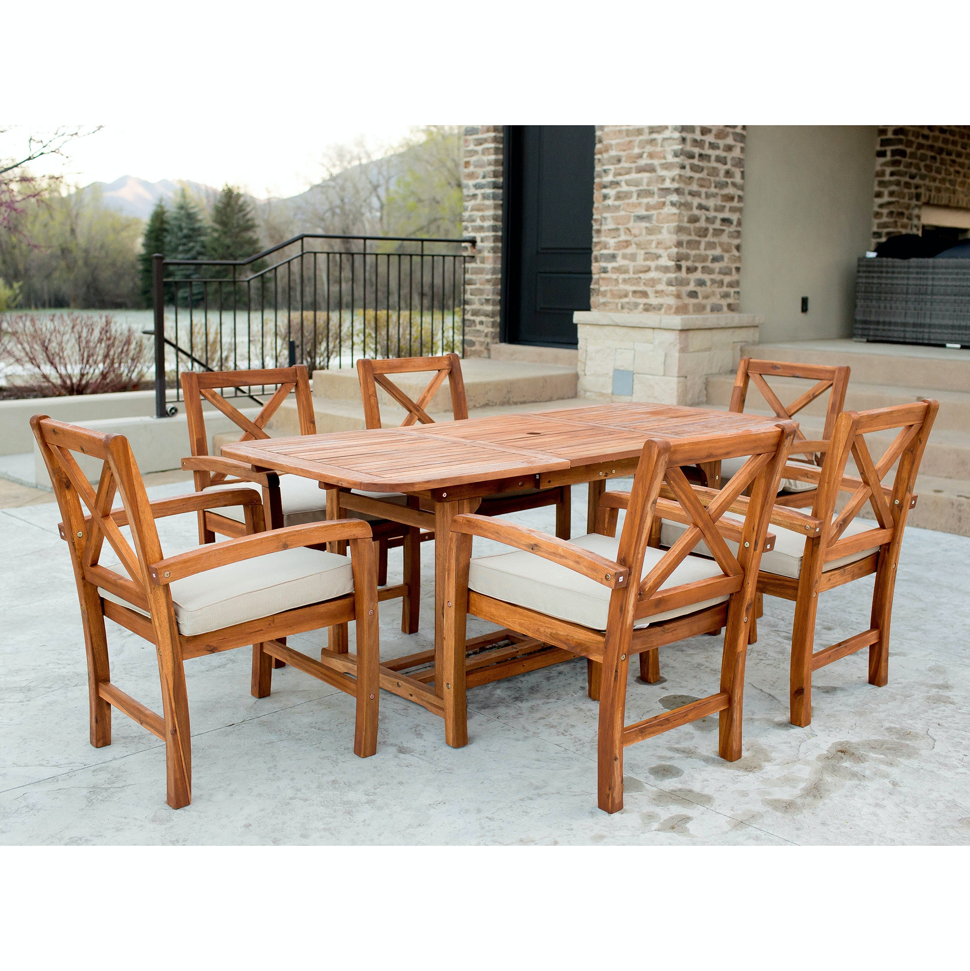 Ft Myers 7 Piece X Back Acacia Patio Dining Set With Cushions WEDOW7XBDBR  From