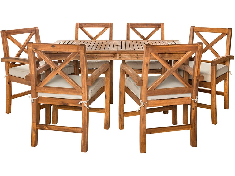 Pleasing Ft Myers Outdoorpatio Outdoor Acacia Wood Simple Patio 7 Piece Dining Set With X Design Brown Wedow7Xsdtbr Walter E Smithe Furniture Design Lamtechconsult Wood Chair Design Ideas Lamtechconsultcom