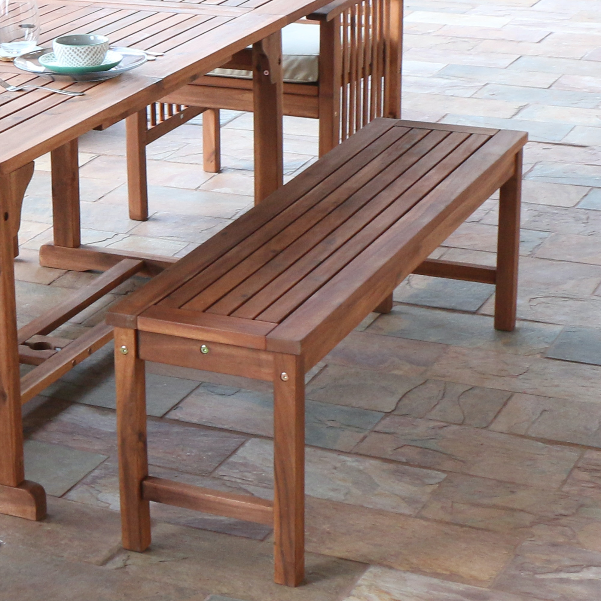 Ft Myers Acacia Wood Patio Bench WEDOWB7SBR From Walter E. Smithe Furniture  + Design