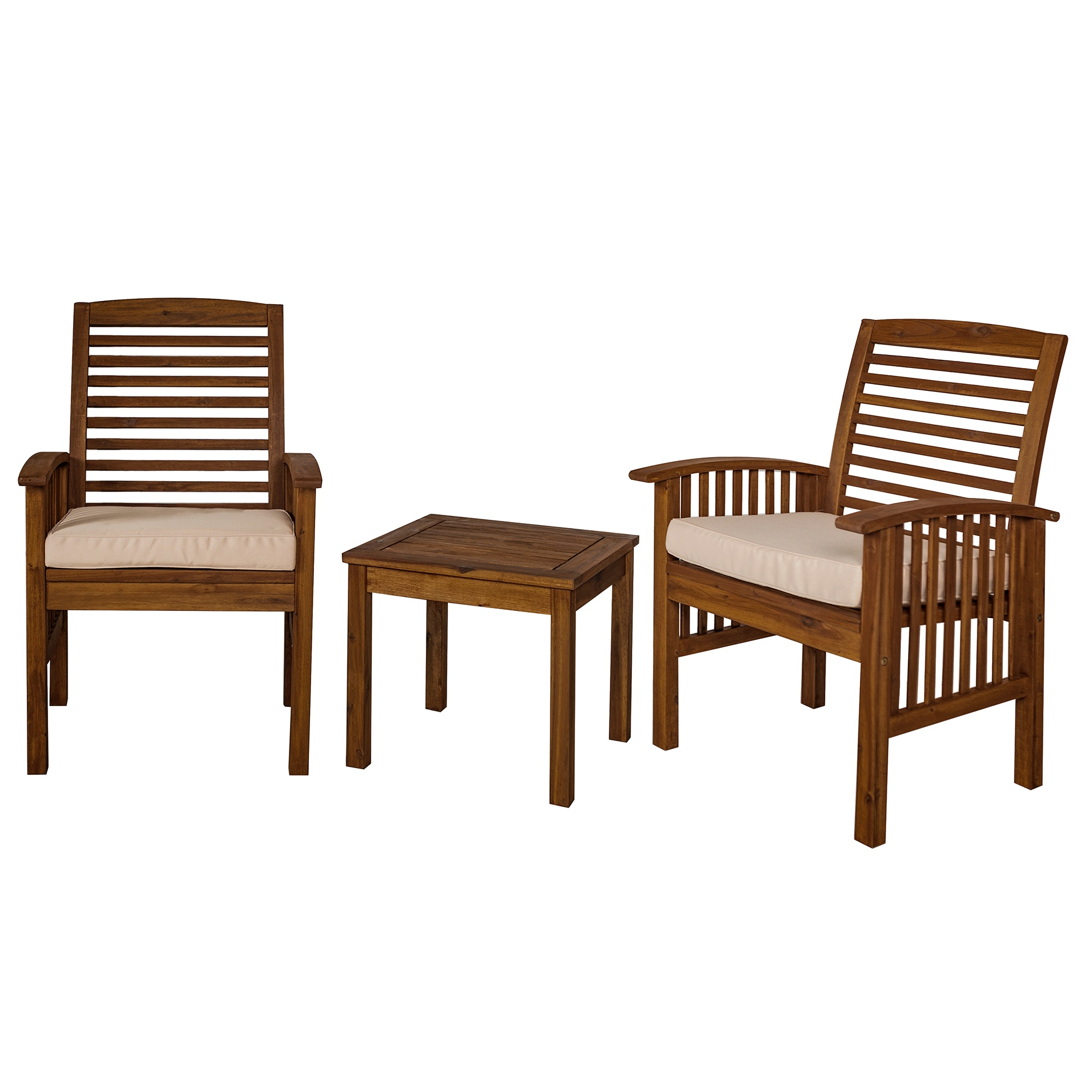 Ft Myers Outdoor Classic Acacia Wood Patio Chairs And Side Table WEDOWC3CGDB