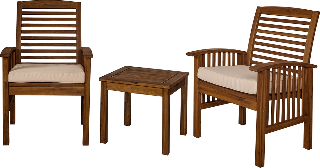Ft Myers Outdoor Classic Acacia Wood Patio Chairs and Side Table - Dark  Brown WEDOWC3CGDB from - Outdoor Classic Acacia Wood Patio Chairs And Side Table - Dark Brown