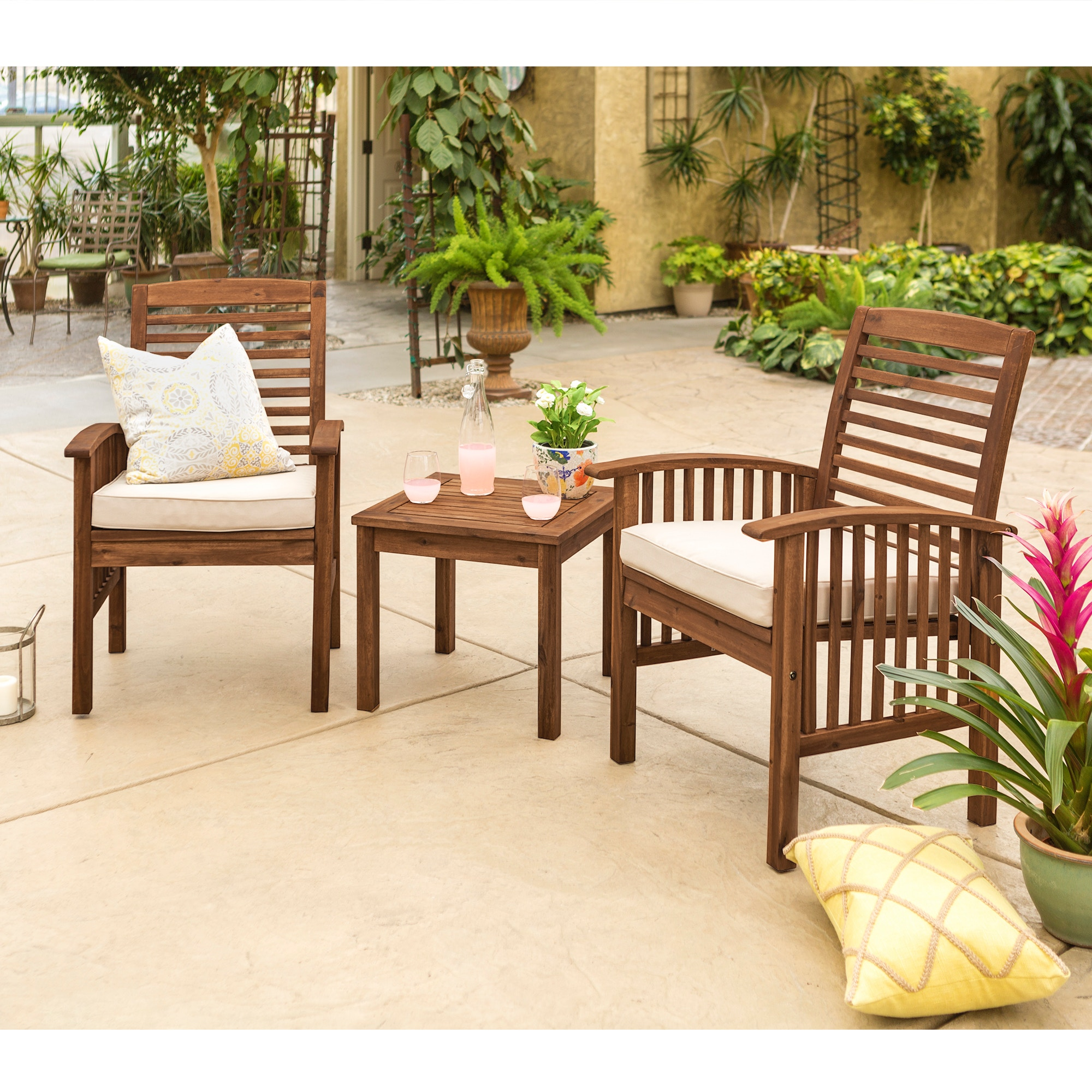 Ft Myers Outdoor Classic Acacia Wood Patio Chairs And Side Table  WEDOWC3CGDB From Walter E.
