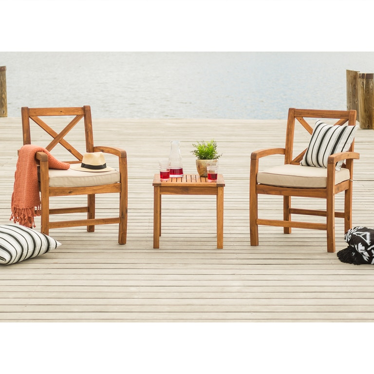 Acacia Wood Patio Chairs With X Design And Side Table Brown