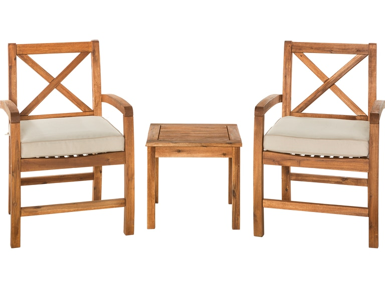 Astounding Ft Myers Outdoorpatio Acacia Wood Patio Chairs With X Design And Side Table Brown Wedowc3Xcgbr Walter E Smithe Furniture Design Machost Co Dining Chair Design Ideas Machostcouk
