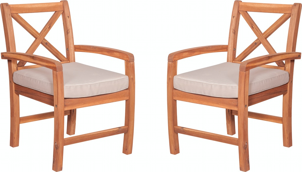 Tremendous X Back Acacia Patio Chairs With Cushions Set Of 2 Home Interior And Landscaping Fragforummapetitesourisinfo