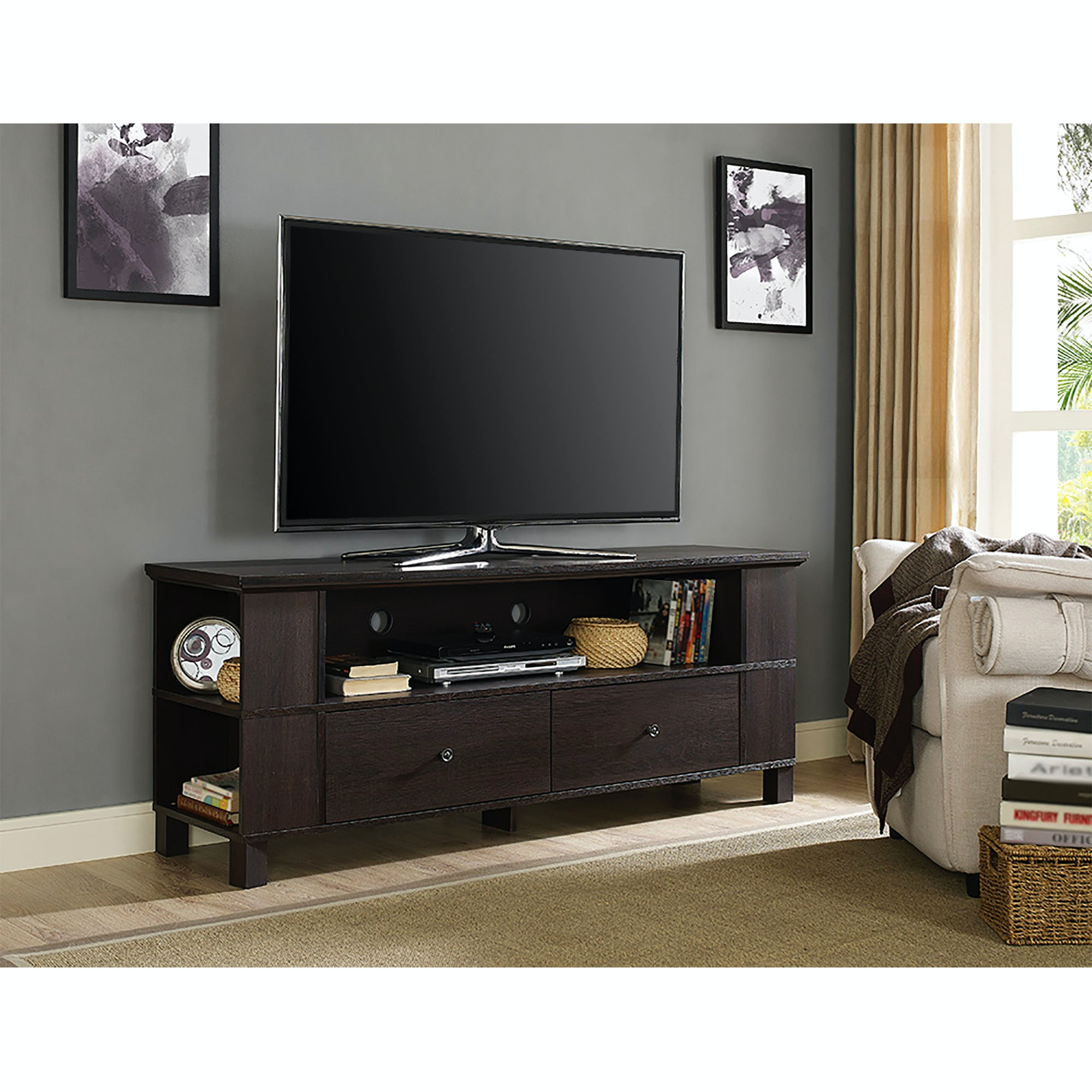 60 Wood Tv Media Stand Storage Console Espresso Wedp60cmpes