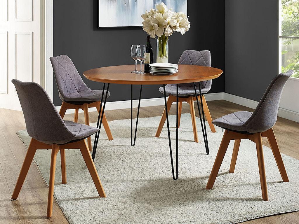 Modern round hairpin leg kitchen dining table wedtw46rdhpwt on sale