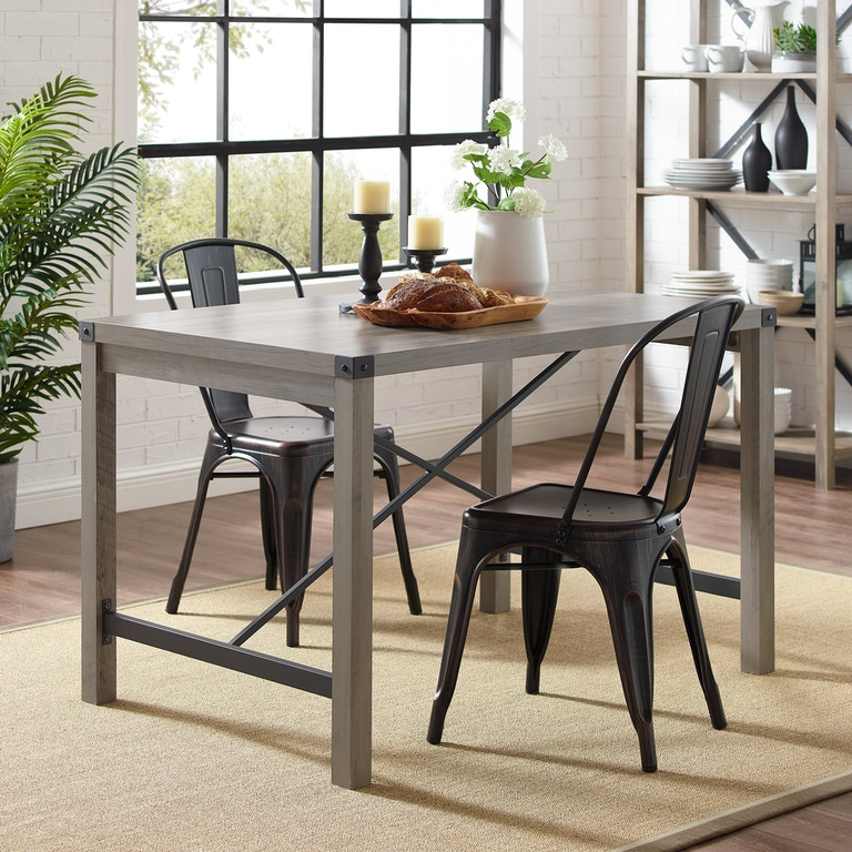 online store 92d26 9136b Ft Myers Dining Room 48'' Industrial Farmhouse Dining Table TW48MWGW Walter  E. Smithe Furniture + Design