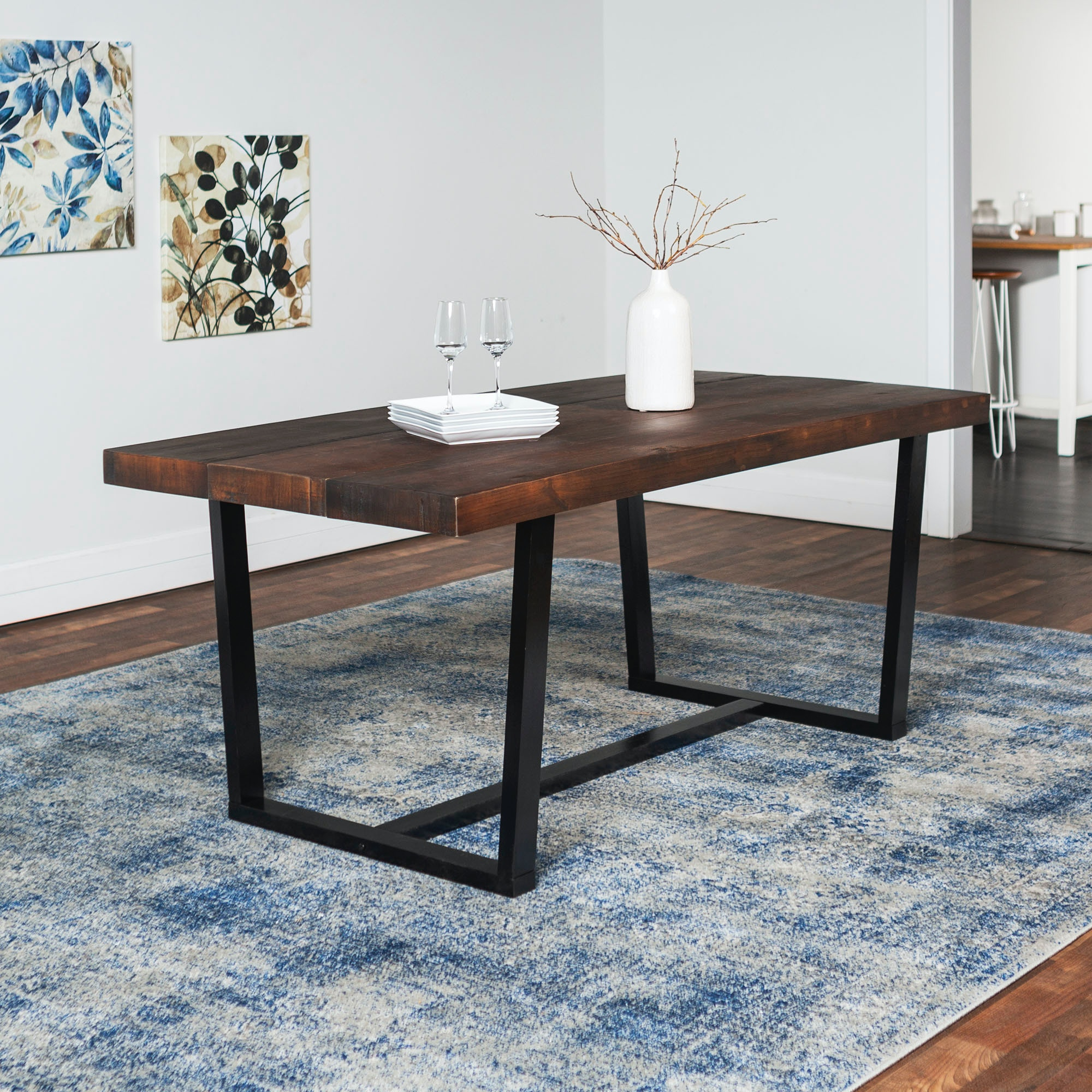 194 & Ft Myers Dining Room 72\u0027\u0027 Rustic Urban Industrial Farmhouse Distressed Solid Wood Dining Table WEDTW72DSWMA Walter E. Smithe Furniture + Design
