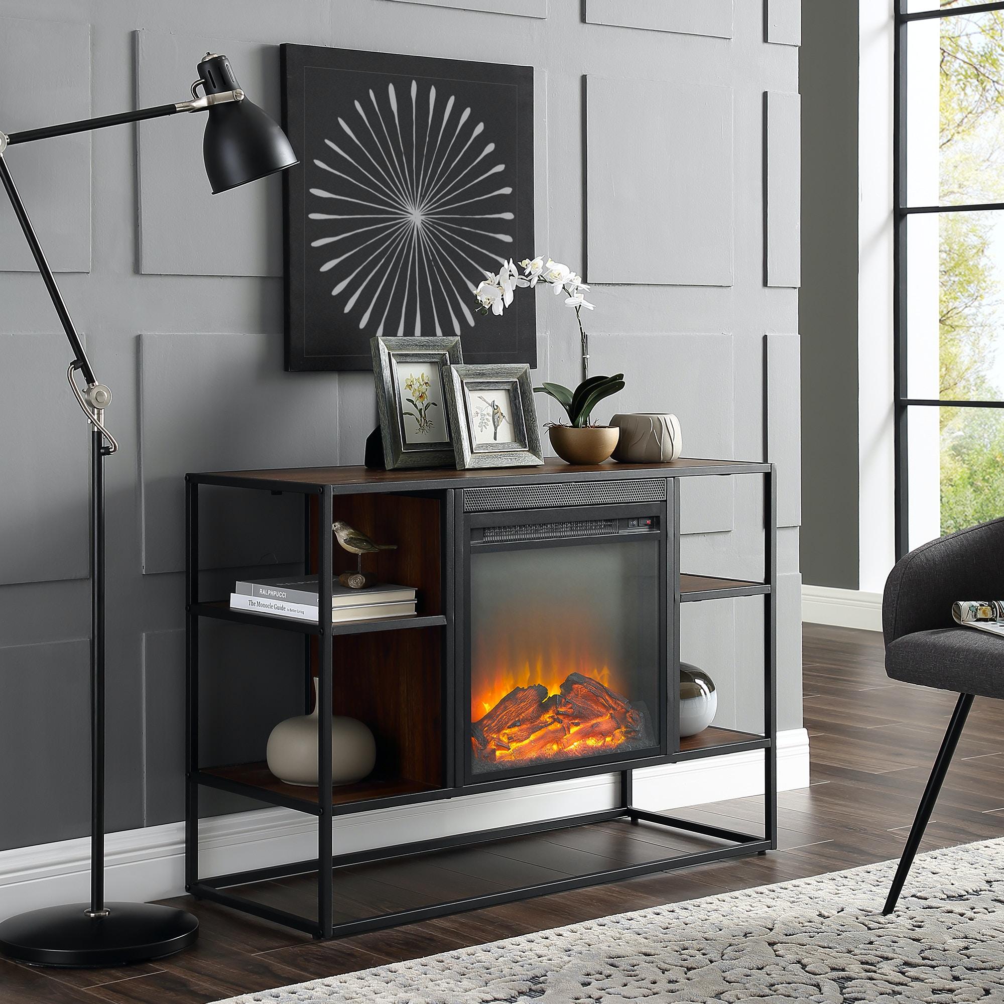 40 Rustic Urban Industrial Metal And Wood Open Shelf Fireplace Tv