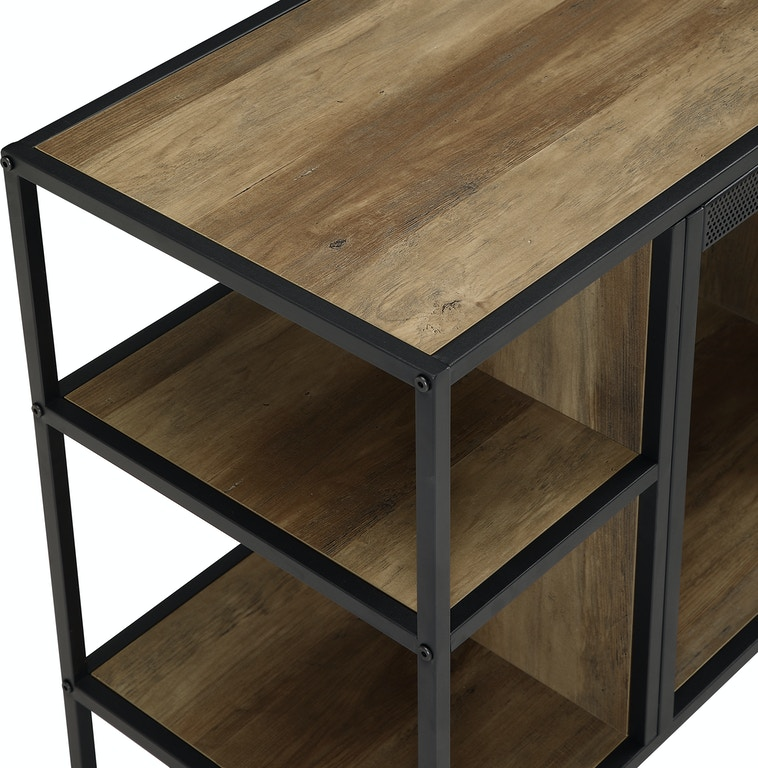 Ft Myers Home Entertainment 40\'\' Rustic Urban Industrial Metal and Wood  Open-Shelf Fireplace TV Stand Storage Console WEDW40FPJERRO Walter E.  Smithe ...