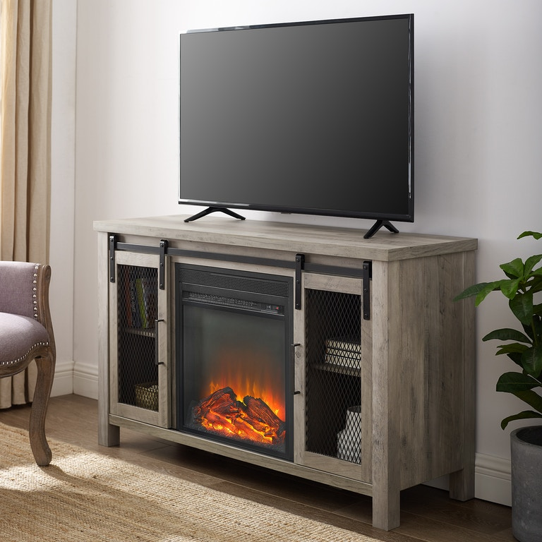 Pleasing Ft Myers Home Entertainment 48 Rustic Farmhouse Fireplace Tv Stand W48Fpsmdgw Walter E Smithe Furniture Design Download Free Architecture Designs Estepponolmadebymaigaardcom