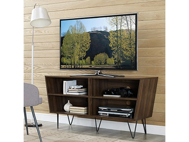 Ft Myers 52'' Mid Century Modern Angled Side TV Stand Console Entertainment  Center with Metal Legs WEDW52CRODW