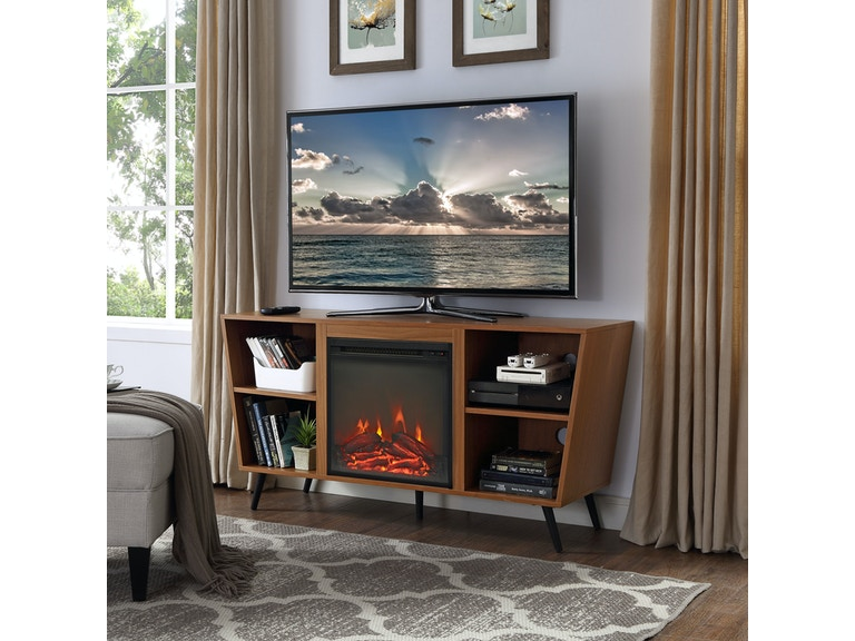 8270a7edf535 Ft Myers 52'' Mid Century Modern Angled Side Fireplace Console TV Stand  Entertainment Center