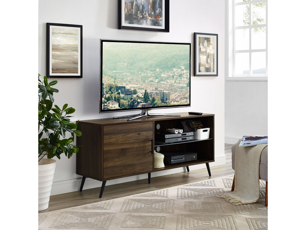 Ft Myers Home Entertainment 52 Mid Century Modern Tv Stand Media Storage Console Entertainment Center With Black Legs Dark Walnut Wedw52norgsdw