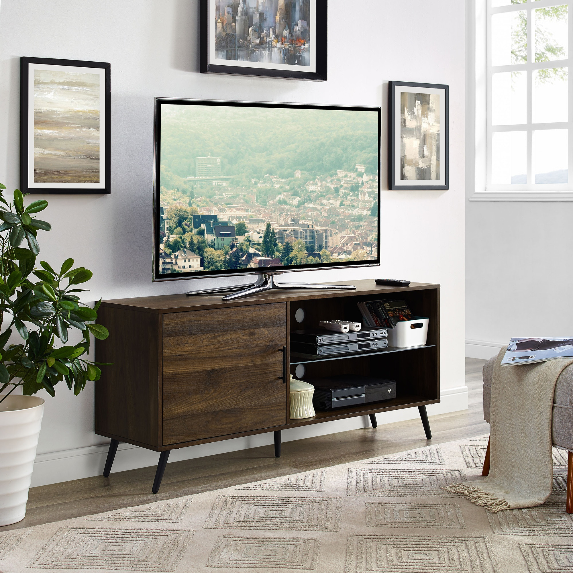Ft Myers 52u0027u0027 Mid Century Modern TV Stand Media Storage Console  Entertainment Center With