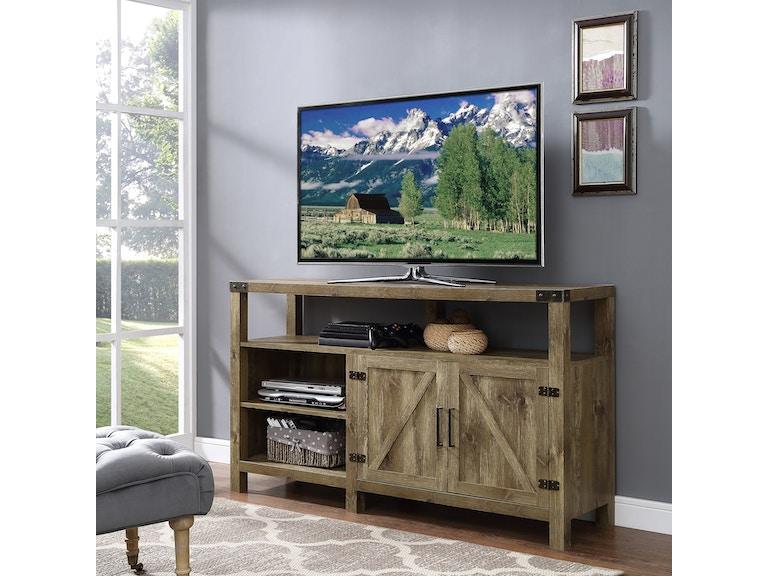 58 Rustic Modern Farmhouse Barn Door Highboy Tv Stand Media Storage