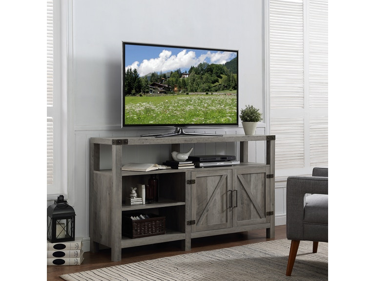 58 Rustic Modern Farmhouse Barn Door Highboy Tv Stand Media Storage