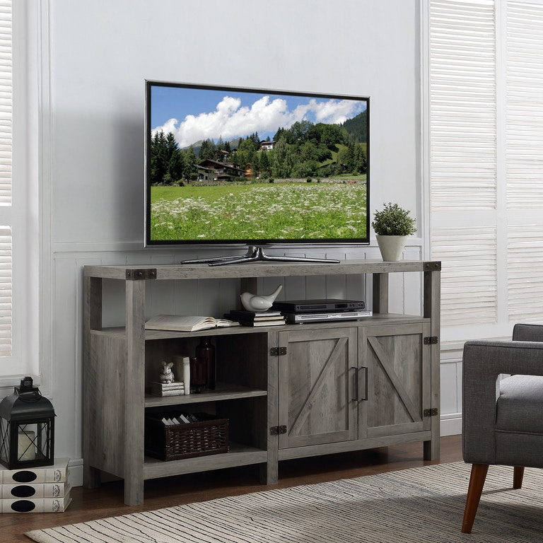 58 Rustic Modern Farmhouse Barn Door Highboy Tv Stand