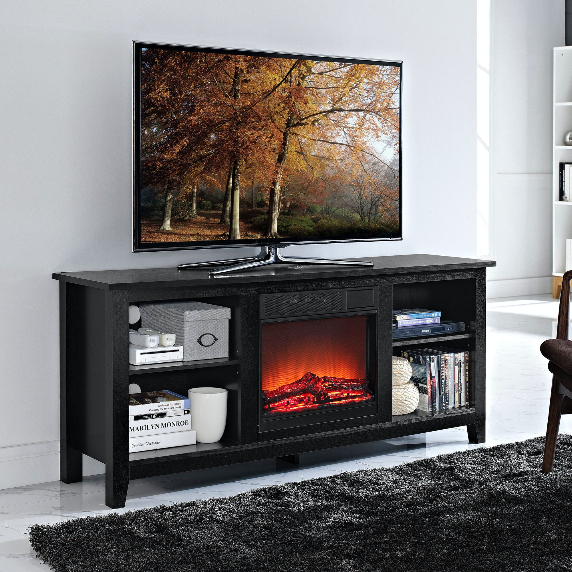 58 Wood Tv Stand With Fireplace Insert Wedw58fp18bl