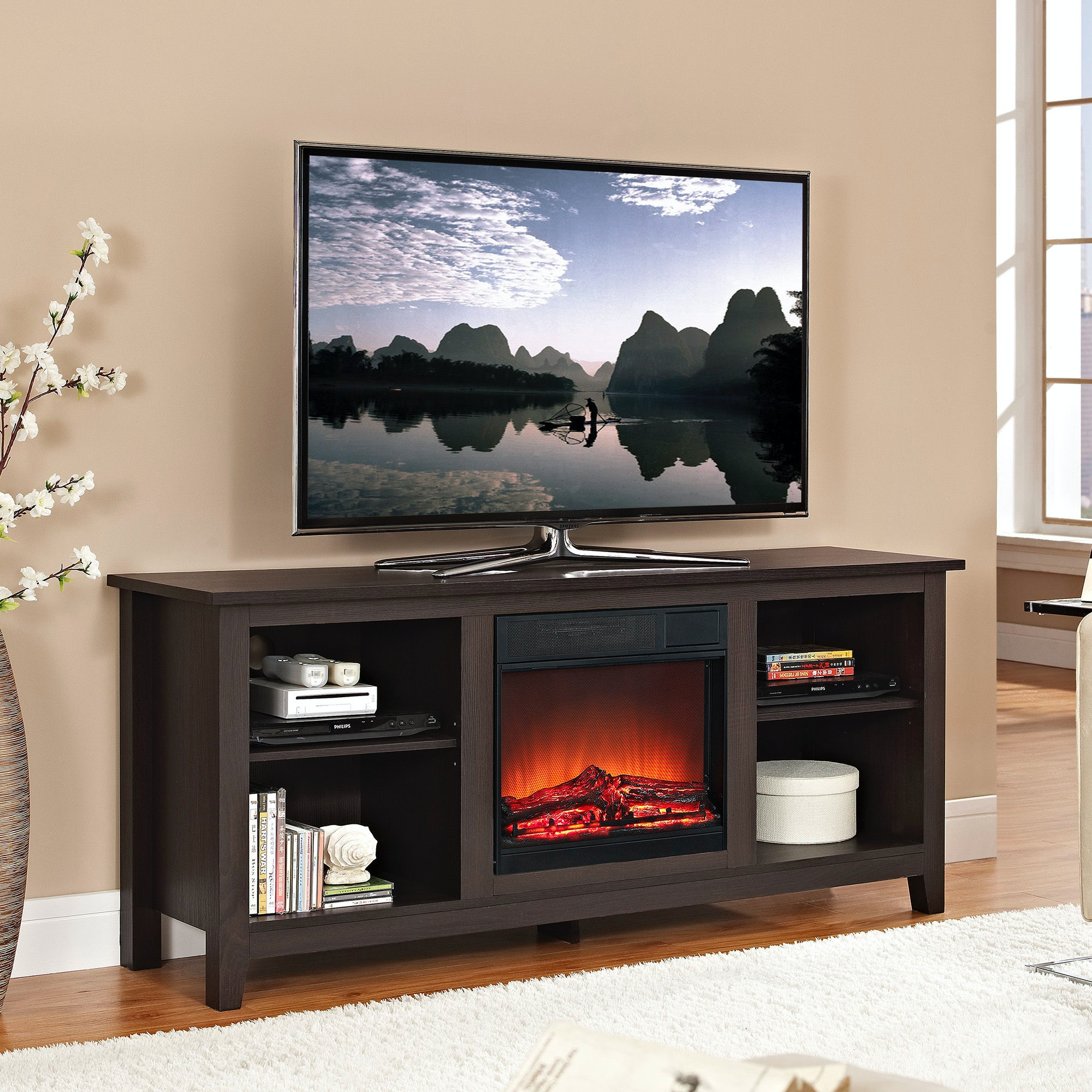 58 Wood Tv Stand With Fireplace Insert Wedw58fp18es