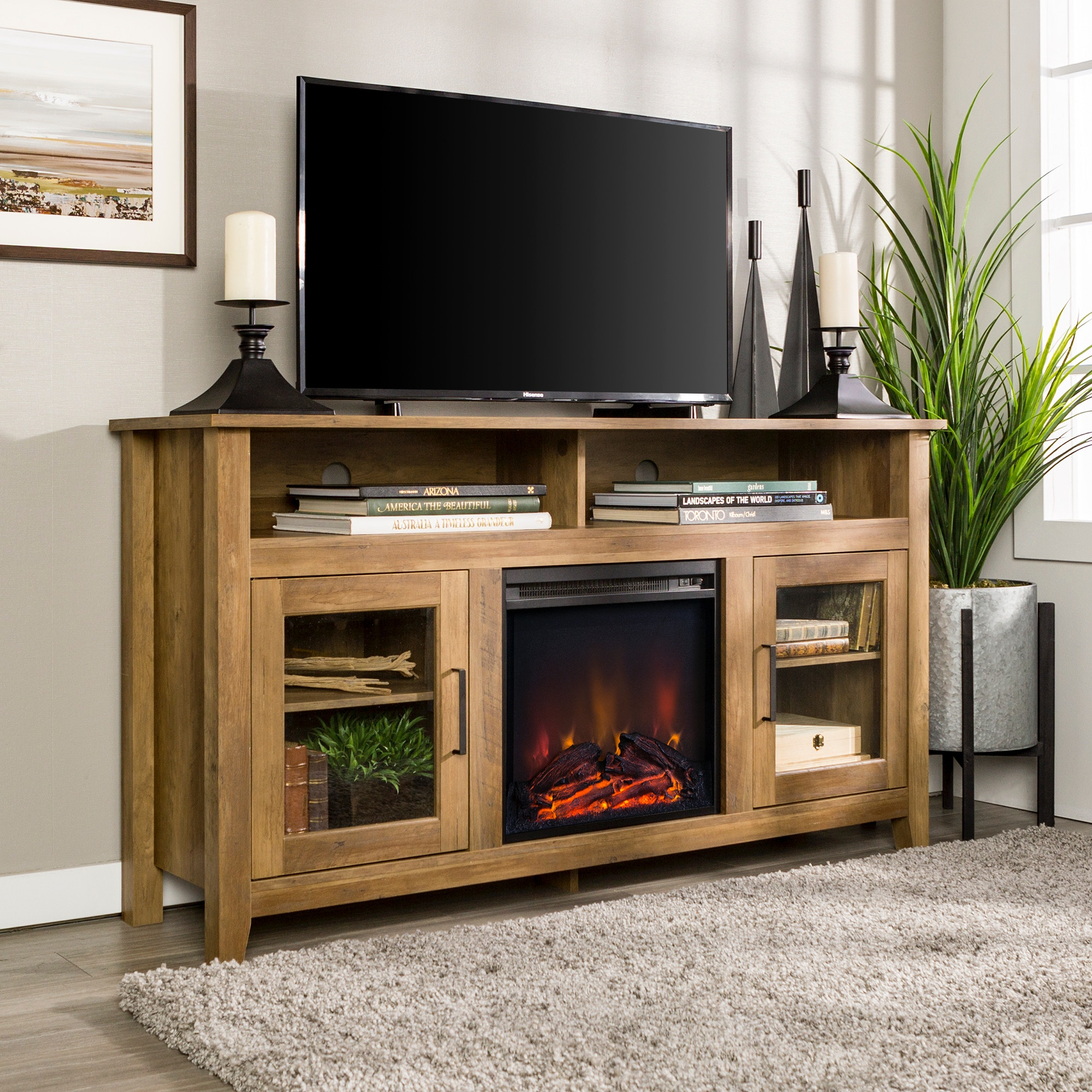 58 Transitional Glass Wood Highboy Electric Fireplace Tv Stand