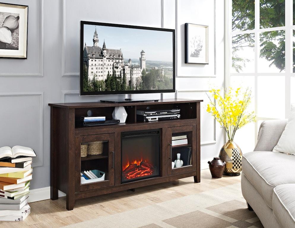 58 Wood Highboy Fireplace Media Tv Stand Console Wedw58fp18hbtb