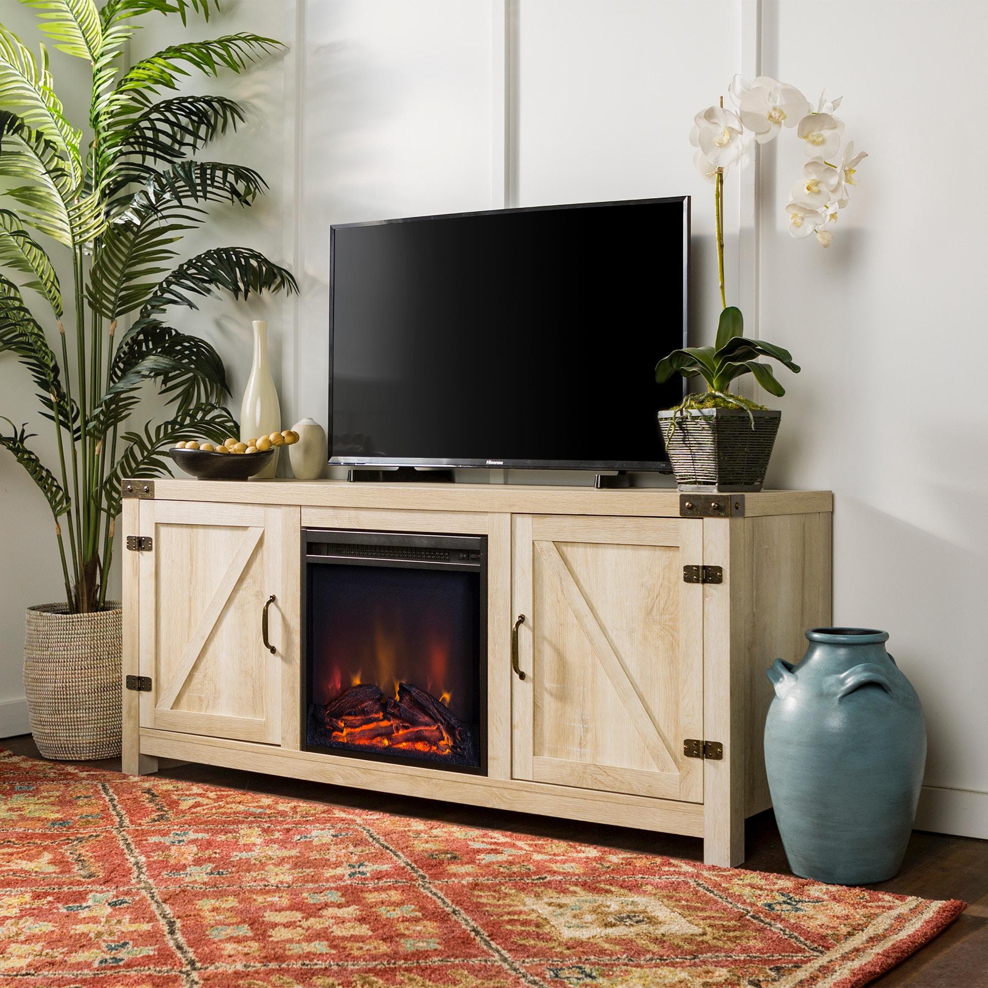 58 Rustic Modern Farmhouse Barn Door Fireplace Tv Stand Storage