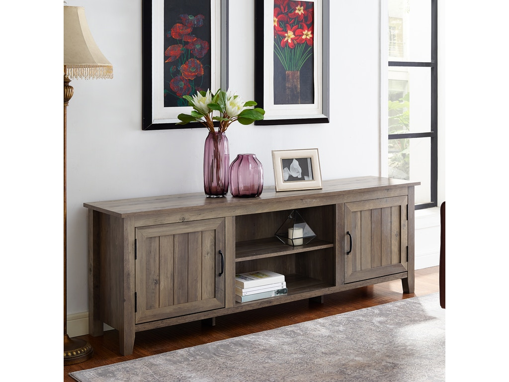 huge discount 1baba e018b Ft Myers Home Entertainment 70'' Modern Farmhouse Entertainment Center TV  Stand Storage Console with Side Beadboard Doors and Center Shelving ...