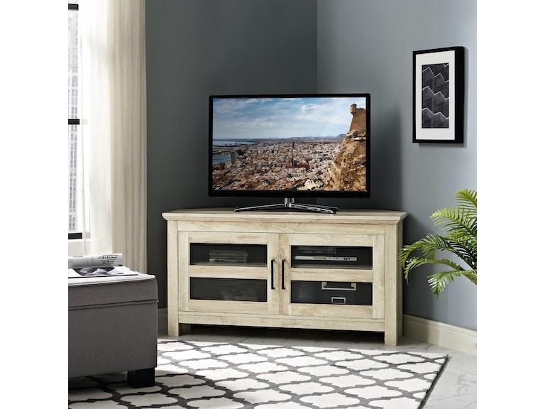 44 Transitional Modern Farmhouse Wood Corner Media Tv Stand Storage