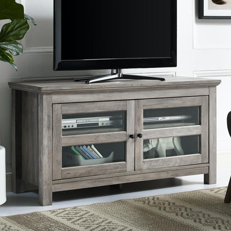 Ft Myers 44 Transitional 2 Door Wood Tv Media Stand Storage Console Grey Wash