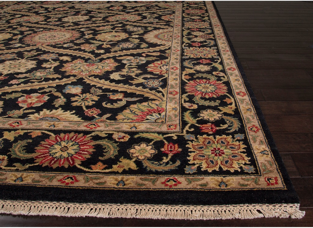 Jaipur Rugs Hand Knotted Oriental Pattern Black Wool Area Rug Al20