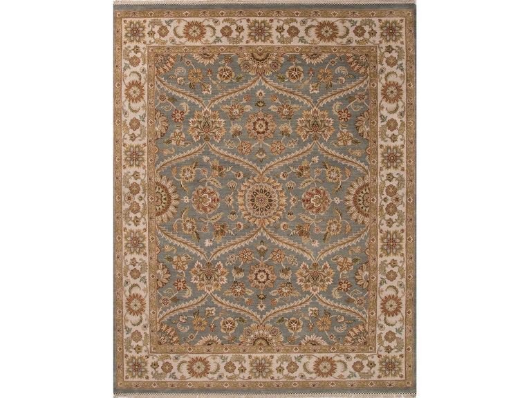 Jaipur Rugs Hand Knotted Oriental Pattern Blue Ivory White Wool 9x12
