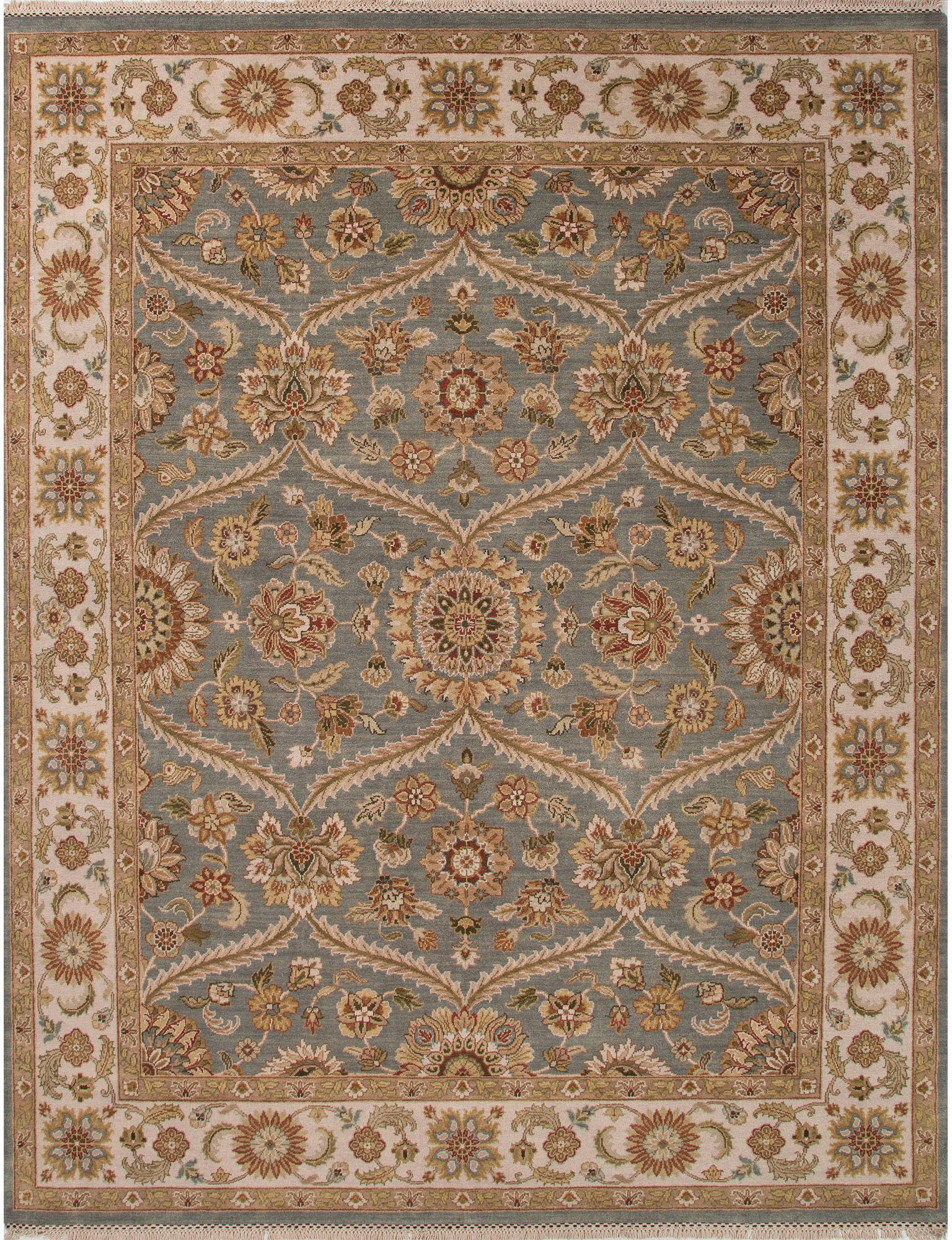Jaipur Rugs Floor Coverings Jaipur Hand Knotted Oriental Pattern Blue Ivory Amp White Wool Area