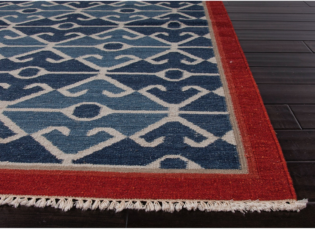 Jaipur Rugs Flat Weave Tribal Pattern Wool Blue Red Area Rug At03
