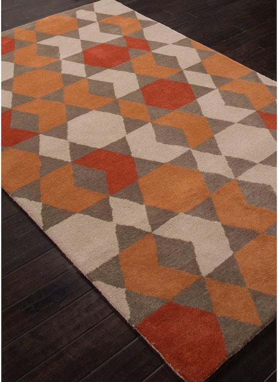 Jaipur Rugs Hand Tufted Geometric Pattern Orange Brown Wool Area Rug Azt04