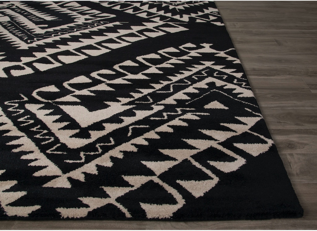 Jaipur Rugs Hand Tufted Geometric Pattern Black White Wool Area Rug Azt05