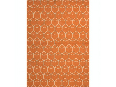 Jaipur Rugs Indoor-Outdoor Geometric Pattern Polypropylene Orange/Ivory Area Rug BA07