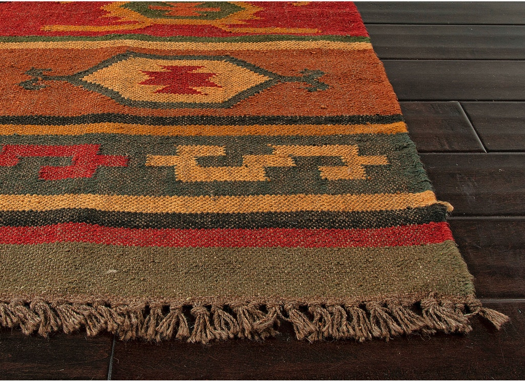 Jaipur Rugs Flat Weave Tribal Pattern Jute Red Yellow Area Rug 5x8