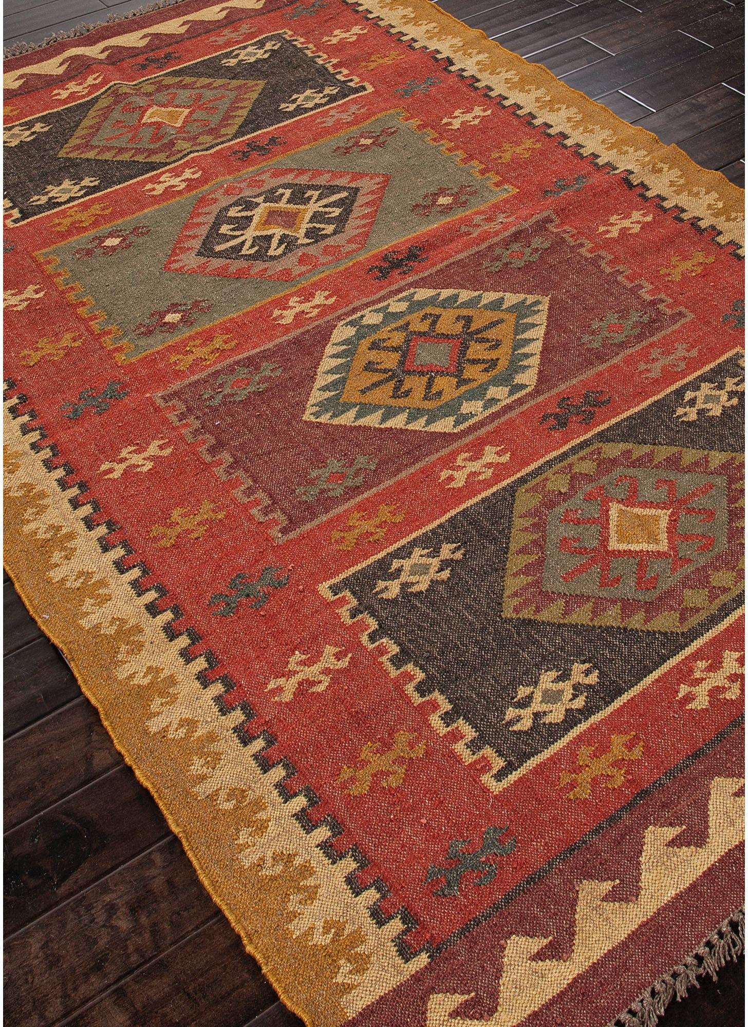 Jaipur Rugs Floor Coverings Flat Weave Tribal Pattern Jute Red