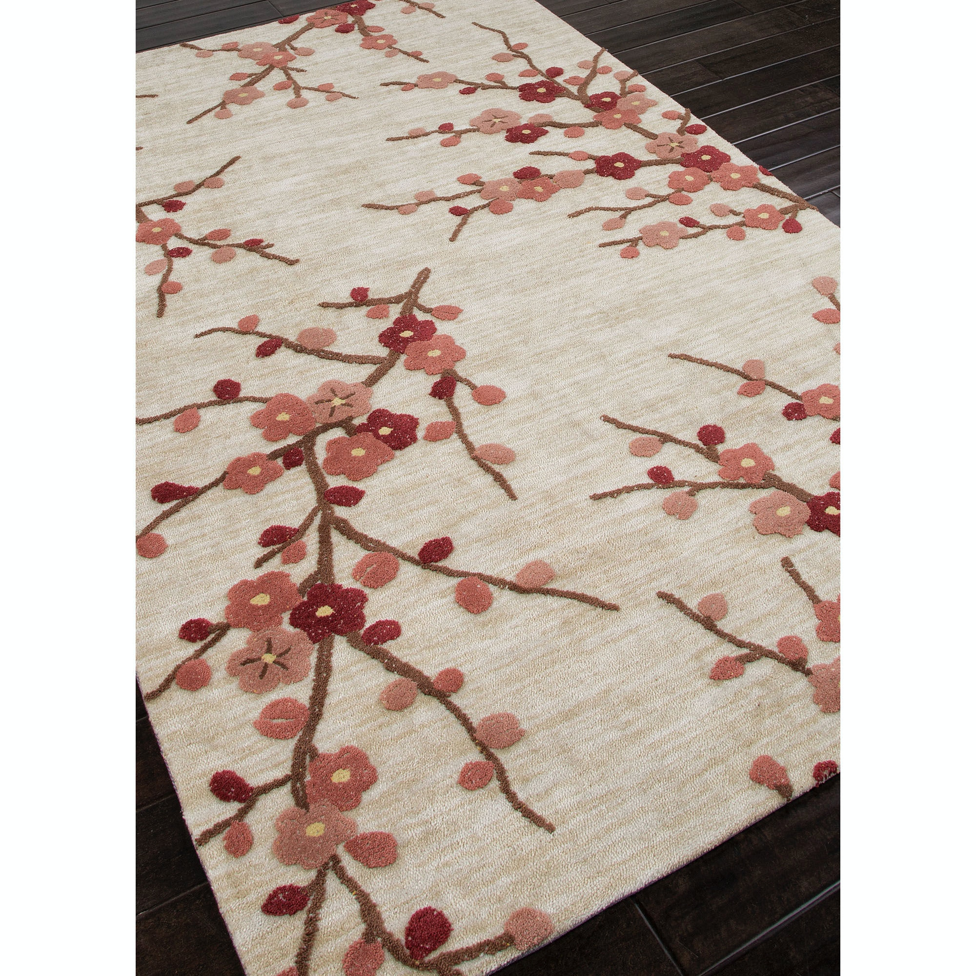 Cherry Blossom Area Rug Part - 46: Jaipur Rugs Hand-Tufted Floral Pattern Polyester Ivory/Red Area Rug ( 3.6x5