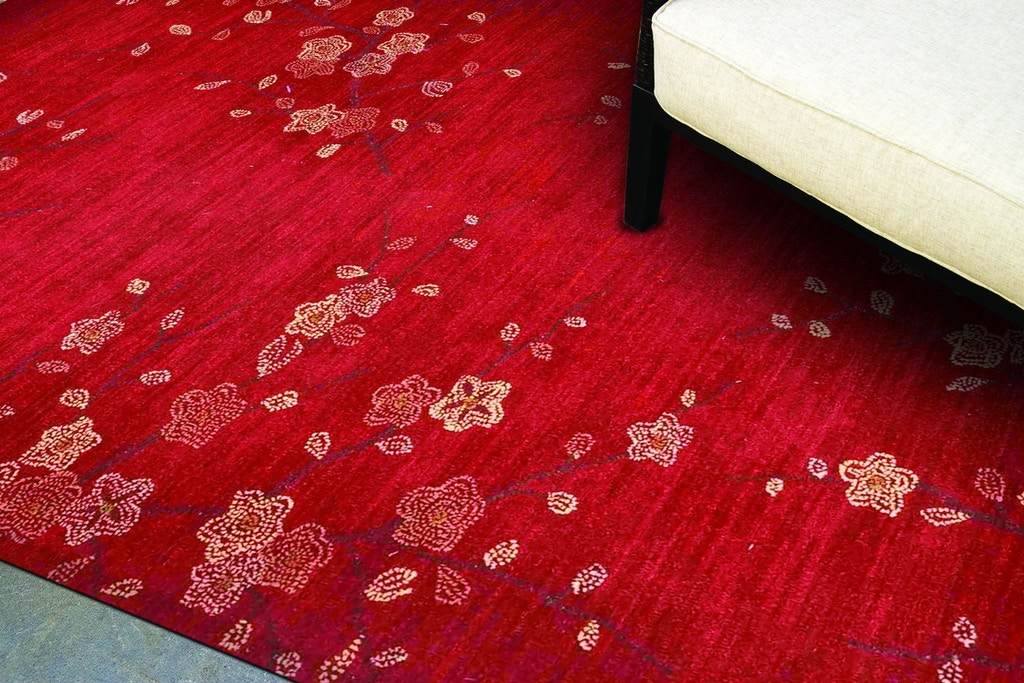 Jaipur Rugs Floor Coverings Hand Tufted Floral Pattern Polyester Red