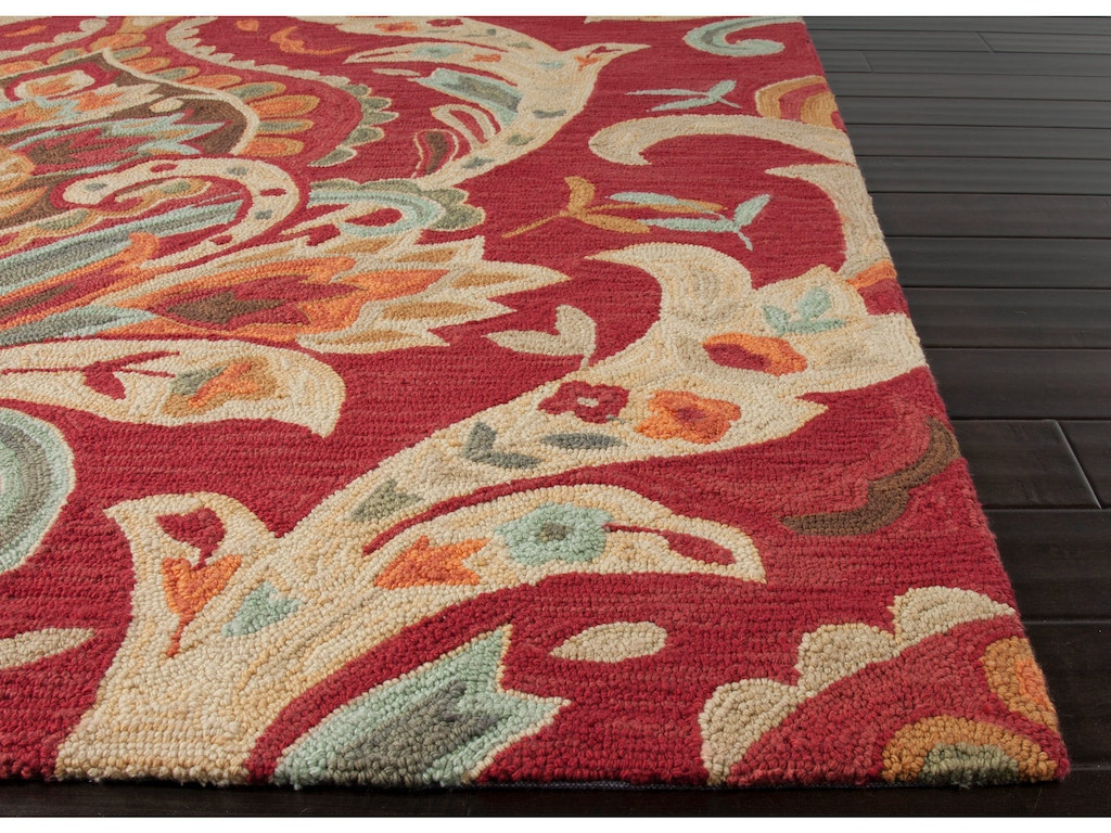 Jaipur rugs floor coverings hand tufted floral pattern for Red floral area rug