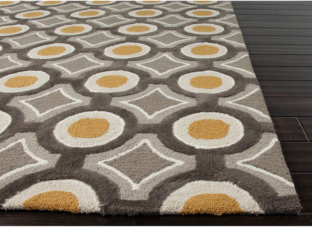 Jaipur Rugs Hand Tufted Geometric Pattern Polyester Gray Yellow Area Rug Br31