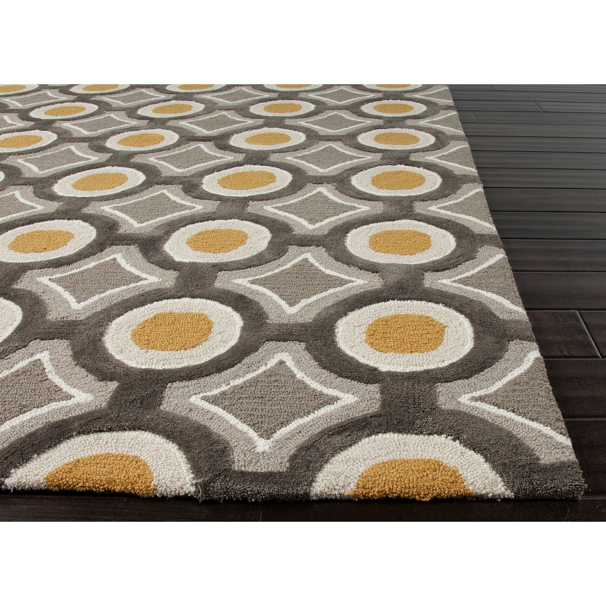Jaipur Rugs Hand Tufted Geometric Pattern Polyester Gray/Yellow Area Rug  BR31
